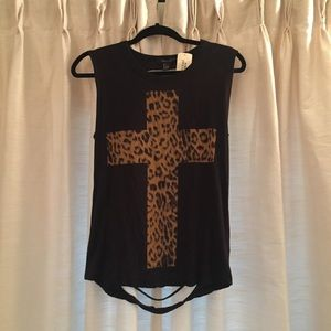 Black Cross Tank with Cutout Back